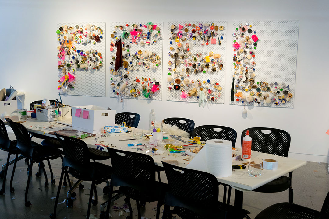 <b>A taxonomy of things (Melaleuca drift) 2016</b><br /> detail of installation view<br /> Paperbark, entomology pins, dimensions variable