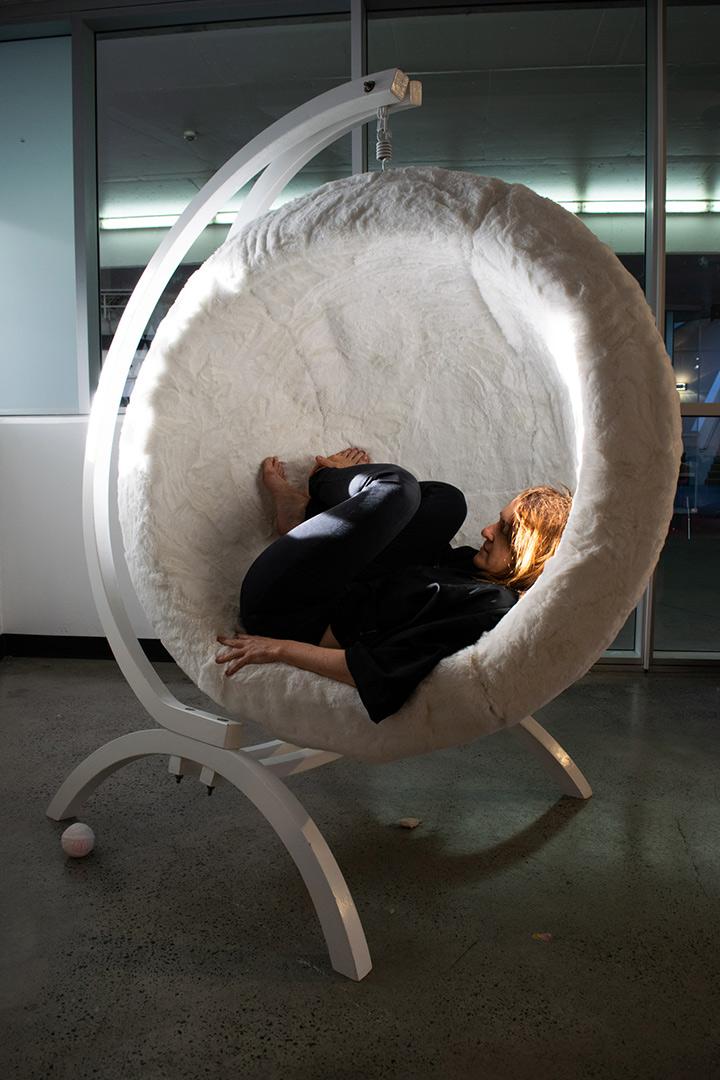 <b>Nook 2019</b><br /> installation view<br /> Found chair frame, foam, faux fur