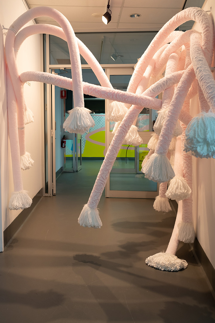<b>Welcoming Touch 2018</b><br /> detail of installation view<br /> Pool noodles, fabric, faux fur, mop heads